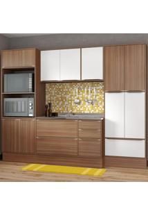 Cozinha Compacta 13 Portas 3 Gavetas 5452R Nogueira/Branco - Multimóveis