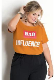 T-Shirt Com Estampa Bad Influencer Mostarda