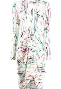 Isabel Marant Vestido Drapeado Com Estampa Abstrata - Neutro