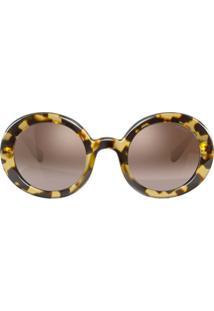 Miu Miu Eyewear Óculos De Sol Oversized Redondo - Marrom