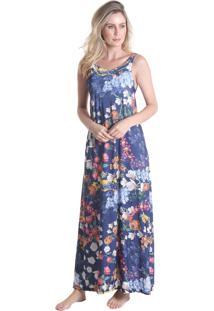 Vestido Longo Rosas - Roxo - Praaiah
