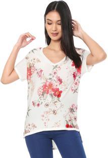 Blusa Linho Dudalina Floral Off-White
