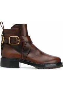 Chloé Ankle Boot Com Fivela - Marrom