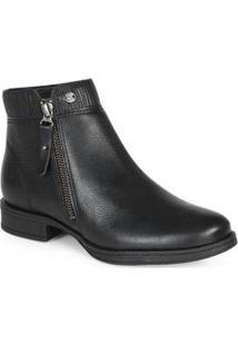 Ankle Boots Feminina Zíper Preto Preto