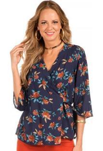 Blusa Floriá Estampada - Feminino-Azul+Vermelho