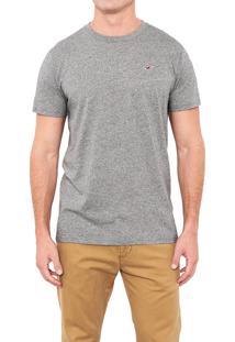 Camiseta Manga Curta Hollister Básica Cinza
