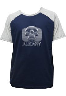 Camiseta Alkary Raglan Manga Curta Caveira 3D Marinho E Mescla