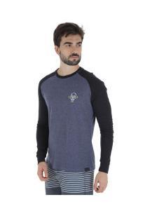Camiseta Manga Longa Hd Raglan Minimal - Masculina - Azul Esc Mescla