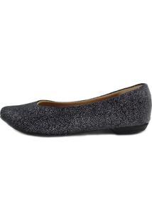 Sapatilha Scarpan Calçados Finos Bico Fino Tecido Preto Com Brilho