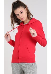 cf3be3c80 Blusão Feminino Esportivo Ace Com Capuz Em Moletom Vermelho