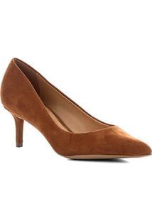 Scarpin Couro Shoestock Salto Baixo Nobuck - Feminino-Marrom