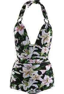 Dolce & Gabbana Maiô Frente Única Floral Dupla Face - Verde