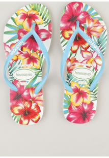 Chinelo Feminino Havaianas Slim Estampado Floral Branco