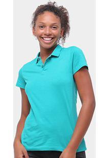 Camisa Polo Malwee Feminina - Feminino-Azul Turquesa