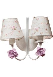 Arandela 2 Lâmpadas Flores Potinho De Mel Rosa - Kanui