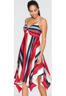 Vestido Com Barra Assimétrica Listrado Vermelho