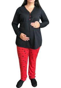 Pijama Linda Gestante Panda Inverno Amamentação E Pós Parto Com Botões Feminino - Feminino-Preto+Vermelho
