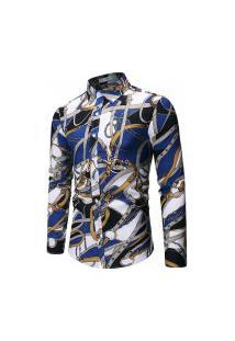 Camisa Masculina Abstract - Azul E Branca