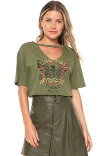 Camiseta Guess Choker Estampada Verde