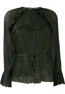 Kenzo Blusa Plissada Com Amarração Na Cintura - Verde