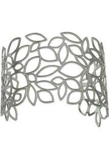 Bracelete Folheado A Ródio Negro- Prateado- Tamanho Carolina Alcaide