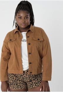 f020909dfbaf4 ... Jaqueta Em Sarja Com Bolsos Curve   Plus Size