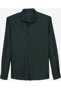 Camisa Dudalina Manga Longa Fio Tinto Maquinetado Masculina (Verde Escuro, 7)