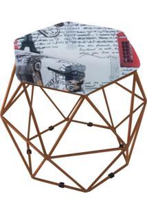Puff Aramado Bronze Assento Hexagonal Suede Países Vermelho - Ds Móveis