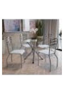 Conjunto Mesa Redonda De Vidro E 4 Cadeiras Portugal Kappesberg Cromado/Branco