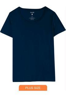 Blusa Azul Marinho Tradicional Em Malha Plus