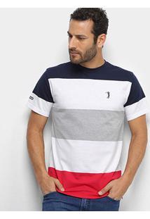 Camiseta Aleatory Fio Tinto Masculina - Masculino-Branco+Cinza