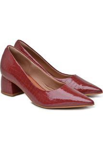 Scarpin Feminino Couro Usaflex Croco Salto Bloco Bico Fino Preto 34 Vermelho