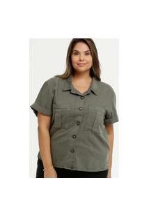 Camisa Plus Size Feminina Sarja Bolsos Marisa