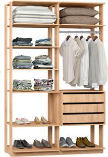 Closet Modelado C/ 3 Gavetas E 1 Cabideiro Clothes 9008 – Be Mobiliário - Carvalho Mel