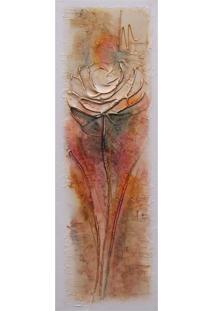 Quadro Artesanal Com Textura Rosa Colorido 20X60Cm Uniart