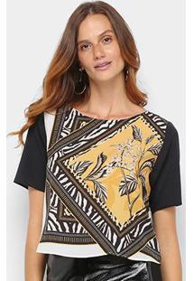 Camiseta Acostamento Floral Feminina - Feminino-Preto+Amarelo