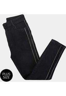 Calça Jeans Sawary Plus Size Faixa Lurex Feminina - Feminino