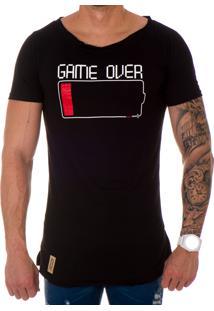 Camiseta Lucas Lunny Oversized Longline Gamer Over Preta