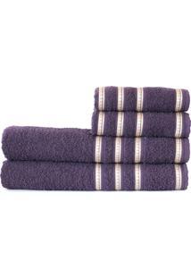 Jogo Banho Atlântica Banhão Bem Estar 4 Peças Algodão Ultra Violeta