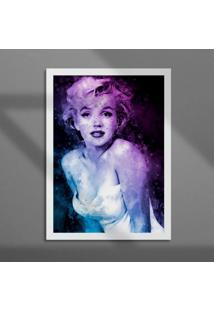 Quadro Decorativo Com Moldura Marilyn Aquarela Branco