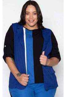 Colete Plus Size Creponado Liso Azul Azul