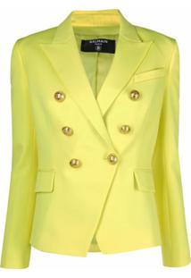 Balmain Blazer Slim Com Abotoamento Duplo - Amarelo