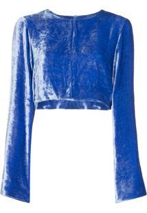 Deitas Blusa Cropped Em Veludo 'Venus' - Azul
