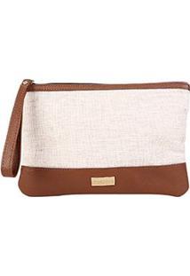 Bolsa Shoestock Clutch Feminina - Feminino-Bege