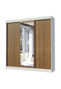 Guarda-Roupa Casal Madesa Istambul 3 Portas De Correr Com Espelho 3 Gavetas Branco/Rustic Branco