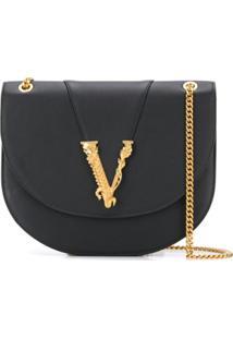 Versace Bolsa Transversal Virtus - Preto