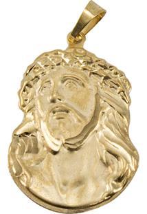 Pingente Face Cristo Tudo Jóias Folheado Dourado