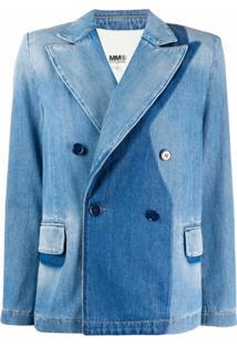 Mm6 Maison Margiela Blazer Jeans Com Abotoamento Duplo - Azul