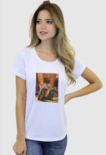 Camiseta Suffix Blusa Estampa Aplicada Em Tecido Sapato Alto Strass Basica Gola Redonda Feminina - Feminino-Branco