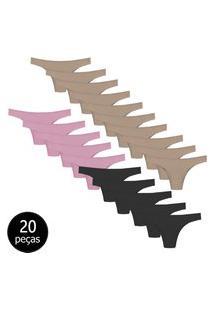 Kit Com 20 Calcinhas Tanga La Maths Microfibra Confortável Premium Colorido